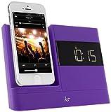KitSound XDOCK2 Radio Uhr Dockingstation/Ladegerät mit Lightning Anschluss für iPhone 5/5S/5C/SE, iPod Nano 7. Generation and iPod Touch 5. Generation (EU Netzstecker) - Violett