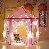 Tente de Jeu Princesse Rose Intérieur Cadeaux avec 6M 40pcs Lampes Etoile de Couleur pour Enfants, Filles, Tout-Petits 139.5x135cm