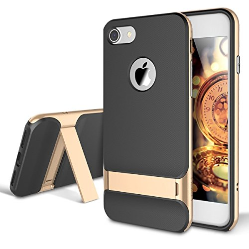 AISPORTS iPhone 7 Hülle, iPhone 7 Handyhülle Case Rock Dual Layer Armor Hybrid Robust Weich TPU Shell Hart PC Rahmen Schutzhülle Etui Beschützer Case Cover mit Ständer für iPhone 7 - Champagner Gold - Dual 7