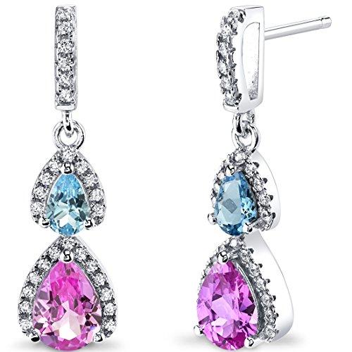 Saphir und Schweizer Blau Topas offen Halo Ohrringe Sterling Silber 2Stein 2,50Karat Gesamt (Sapphire Halo Ohrringe)