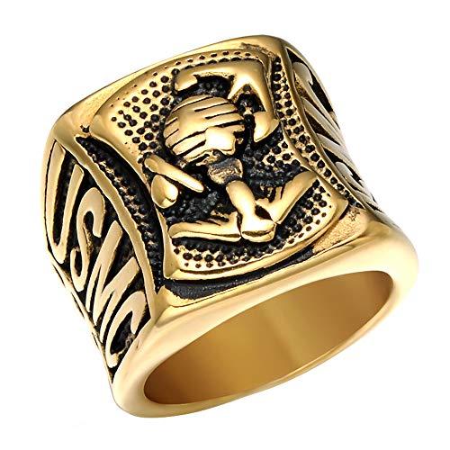 Ueice Herren Retro Jahrgang Kreuz Anker Marine Haken Punk Ringe Im Rostfreier Stahl,Gold,Größe 65 (20.7) - Herren-marine-ring