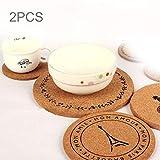 Famiglia 2 pezzi rotondo coaster sughero modello torre, tazza di bevanda in legno/tazza di caffè opaco, dimensioni: 19 * 1 cm cucina