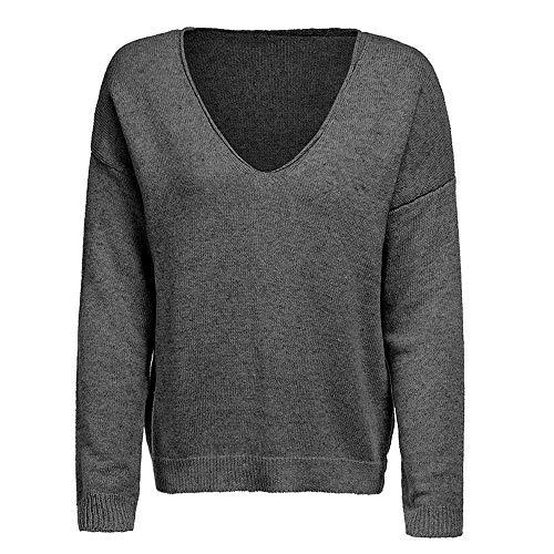 OSYARD Chemise Femme Manches Longue Pulls et Blouses Lâce Chemisiers Tricot T-Shirt Tops Polo Haut Blouse Gris-D XL