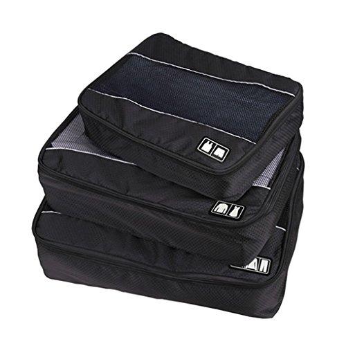 Shopper Joy Kofferorganizer Packing Cubes Kleidertaschen 3 Teilig Set für Reise Urlaub Aufenthalt - Rot Schwarz