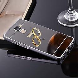 nKarta (TM) Branded Luxury Metal Bumper Acrylic PC Mirror Back Mobile Cove Case For Huawei Honor 7 - Black