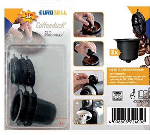 3 Stück Coffeeduck Espresso Capsule for Nespresso Machines Kapsel zum selber füllen