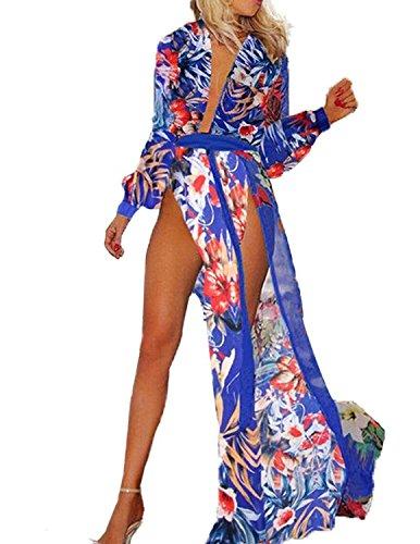 Minetom Donne Estate Moda Sexy Chiffon Lungo Vestito Spiaggia Vestito Partito Abito Cocktail Vestito Blu (Vestito Blu Camicia A Righe)