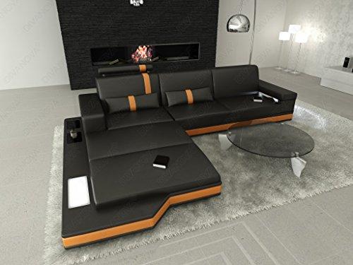 Divanova | divano moderno proxima angolare in vera pelle e similpelle - nero e arancione