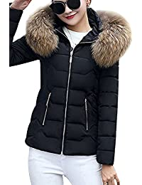 YMING Femme Manteau Hiver Jacket Court Veste à Capuche Fourrure Chaud Blouson Parka Veston,XXS-L