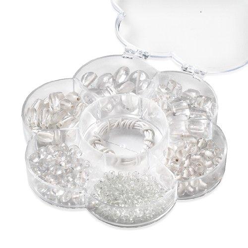 KnorrPrandell 6049101 - Sortimentsbox Blume, 6 Sorten, 90 g, Wachskordel in Box, weiß transparent handgefertigt
