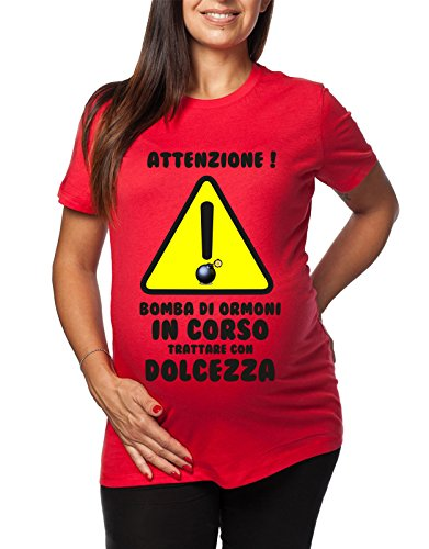 Tshirt lunga da donna ideale per il premaman Attenzione! Bomba di ormoni in corso trattare con dolcezza - tshirt simpatiche e divertenti - humor Rosso