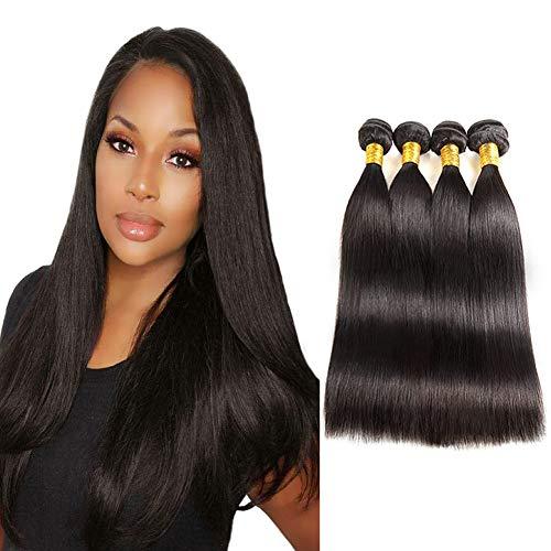 Black Professional 60 (Huarisi 100% Human Hair Straight Brazilian Virgin Hair 4 Bundles 16 18 20 22 Inches 9a Unprocessed Natural Hair Weave Brasilianisches Echthaar for Black Women)