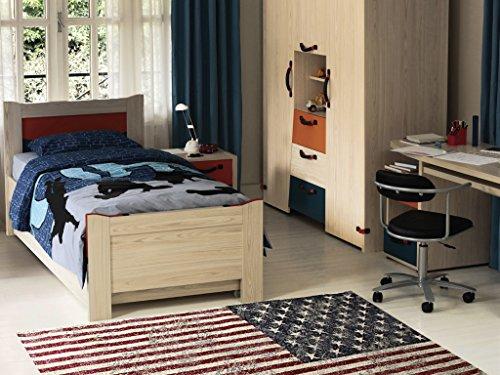 Abc, pop rock, tappeto, rosso (blu/rosso), 95 x 140 cm