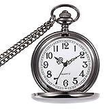 wior Taschenuhr Retro glatten Quarz-Taschenuhr Classic Mechanische fobwatch für Herren Damen mit Kette + Geschenk-Box