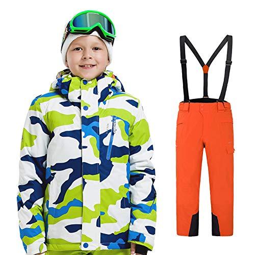 LPATTERN Traje de Esquí para Niños/Niñas Traje Conjunto de Nieve Impermeable para Deportes de Invierno, Blanco+Naranja, 120/5-6 años