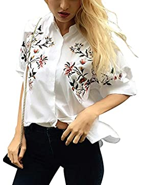 Simplee Apparel Women's Half Sleeve Cotton Flower Embroidered Button Shirt Blouse Top White
