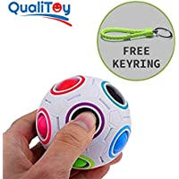 Qualitoy Bola de colores para niños y adultos de gran calidad con llavero de regalo, magic ball, regalo original para cualquier ocasión, juguete anti estres, puzzle educativo, juego rompecabezas.