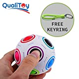 Qualitoy Bunter Ball für Kinder und Erwachsene von hoher Qualität mit Geschenk-Schlüsselanhänger, Stress-Release, magische Kugel, originelles Geschenk, Rubick's Cube