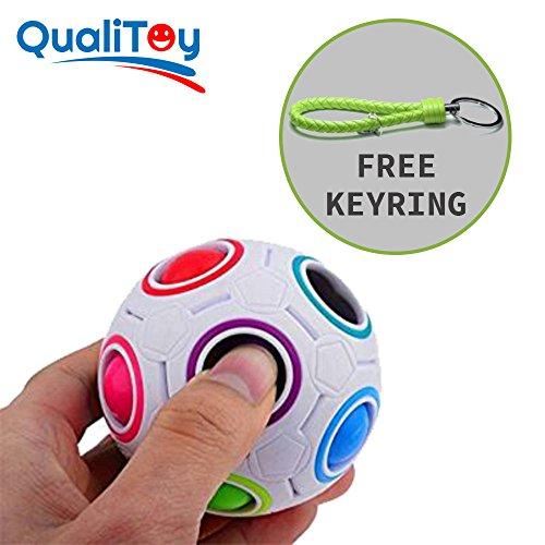 Qualitoy Bola de colores para niños y adultos de gran calidad con llavero de regalo, magic ball, regalo original para estas navidades, juguete anti estres, puzzle educativo, juego rompecabezas.