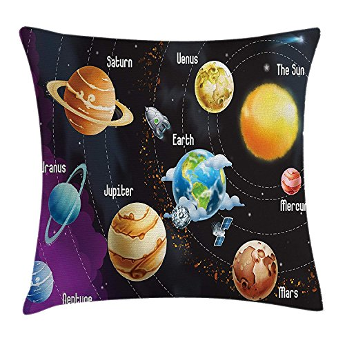XIAOYI Outer Space Throw Pillow Cushion Cover by, Solar System of Planet Milk Way Neptune Venus Mercury Sphere Horizontal Illustration, Decorative Square Accent Pillow Case, 18 X18 Inches, Multi Mercury Pie