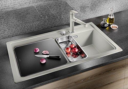 Blanco ZENAR 5 S, Küchenspüle, Granitspüle aus Silgranit PuraDur inklusiv Glasschneidbrett, 1 Stück, perlgrau, 520438 - 2