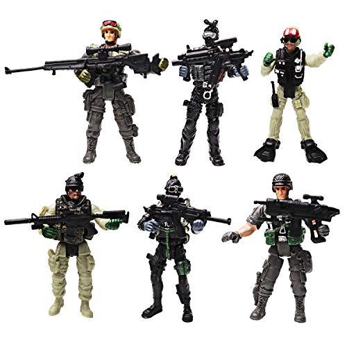 Yijiaoyun 6 pezzi action figure soldati giocattolo con armi / militari esercito uomini modellini guerriero figuriniplayset per bambini