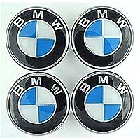 4x 68mm Rueda Center Caps para BMW, color azul y plateado (blanco) (color blanco) (68mm)