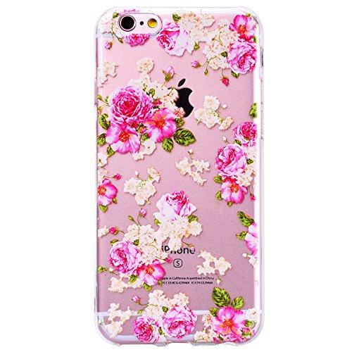 WE LOVE CASE Coque iPhone 6, Transparente en Premium Gel Coque iPhone 6S Silicone Souple Mince et Clair, Coque de Protection Bumper Gel Motif Coque Apple iPhone 6 iPhone 6S Fleur rose Fleur