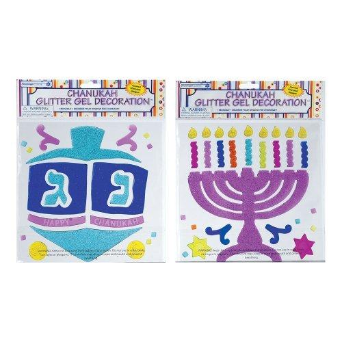 Rite-Lite Judaica Chanukah Window Gel Decorations, Glitter Asst. by Rite -Lite Judaica -