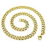 SoulCats® Halskette Königskette Panzerkette Edelstahl gold, Größe:8 mm, Auswahl:Kette 60 cm, Farbe:gold
