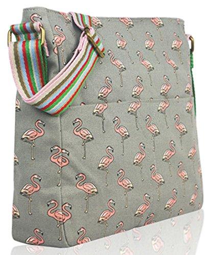 Kukubird Flamingo Tela Borsa A Tracolla Con Il Sacchetto Di Polvere Di Kukubird Grey