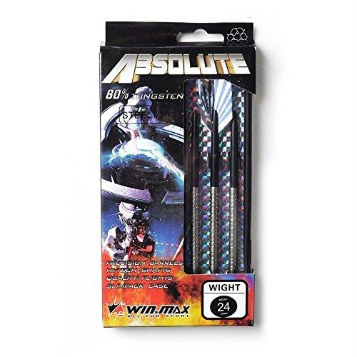 win.max absolute 80% tungsteno con acciaio punte freccette set di dardo 24g con ricambio bastoni & custodia