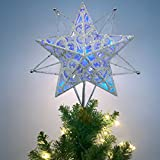 Valery Madelyn Pre-Lit 27cm/10.6 Inch Winter Wishes Silver and White Christmas Tree Topper, Metal Tree Top Star with 10 Blue LED Lights, Battery Operated (Not Included)