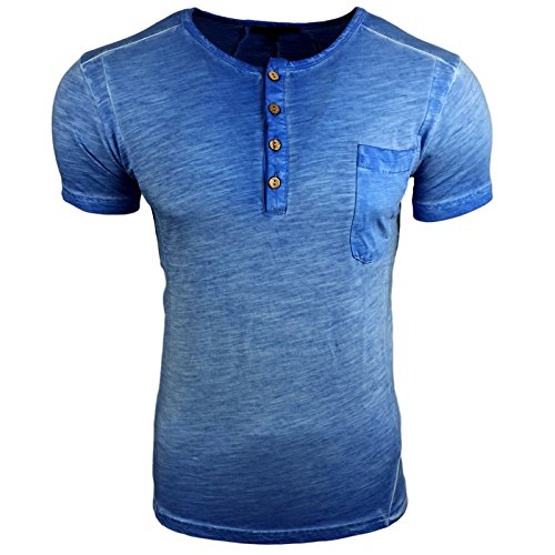 Avroni T-Shirt Herren Rundhals Shirt Anthrazit Blau Grau Khaki Motiv A1-RN15025 Blau