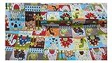 Fabrics-City Bunt Patchwork Dinos Baumwollstoff Dinosaurier Stoff Stoffe Meterware, 3422