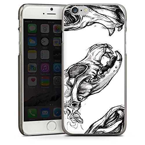 Apple iPhone 4 Housse Étui Silicone Coque Protection Crâne Crâne Ébauche CasDur anthracite clair