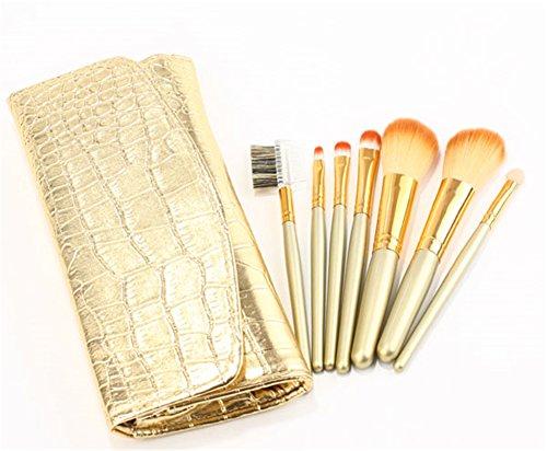 RoseFlower® Professionnel 7 Pcs Pinceaux Maquillage Trousse - Pro Make Up Cosmétique Brosse / Brushes Kit Pour Visage Blending Fondation Blush Eyeliner Poudre