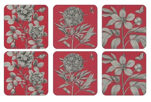 pimpernel-gravures-et-roses-dessous-de-verre-bois-rouge-taille-m-lot-de-6