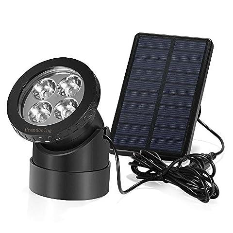 GrandBeing Gartenleuchte 4 LED AußenleuchteWasserdicht led solar strahler Spotlicht Solarlicht