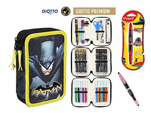 Cerdà Plumier Estuche Artesanía Premium de Cremallera Triple 3 Pisos Batman - 43 Piezas Contenido Giotto + Regalo