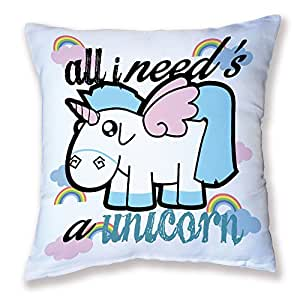 "'Cushion-Pastel Rainbow Unicorn Unicorn ""All I need' Kawaii Chibi | Chamalow Shop"
