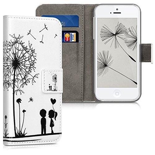 kwmobile Hülle für Apple iPhone SE / 5 / 5S - Wallet Case Handy Schutzhülle Kunstleder - Handycover Klapphülle mit Kartenfach und Ständer Pusteblume Love Design Schwarz Weiß