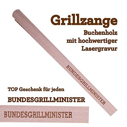 Grillzange Holz Bundesgrillminister Geschenk Geburtstag Grillen Mann Grillzeit