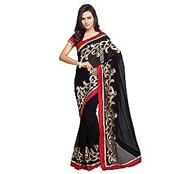 Aruna Sarees Chiffon Saree (Bcg011_Black)
