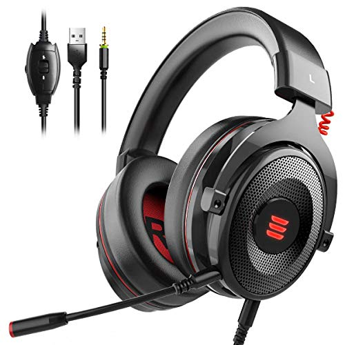 EKSA Gaming Headset PS4/XBox One, Virtual 7.1 & 3,5mm Surround Sound 2 in1 Kabelgebundenes Over-Ear Gaming Kopfhörer mit Abnehmbares Mikrofon, LED-Licht für Laptop, PS4, Xbox one, PC, Smartphone (3 Mic Headset Playstation)