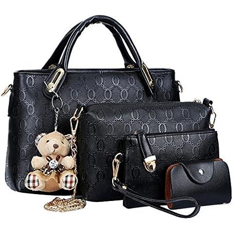 Fashion para mujer piel sintética bolso bolso Monedero bolsa de 4 piezas Juego de