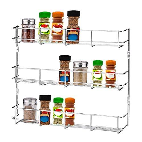 Tatayang Wandmontierter 3-Tier Küche Lagerregal, Wandregal Hängeregal Metall Küche Gewürz Vorratskammer kann Fach Organisieren