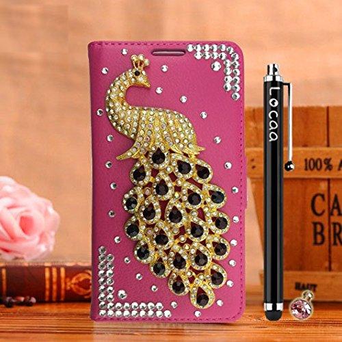 """Locaa(TM) For Apple IPhone 6S Plus 6S IPhone6S+ 5.5"""" 3D Bling Paon Case Coque Fait filles Cuir Qualité Housse Chocs Étui Couverture Protection Cover Shell Romantique [Paon 2] Blanc - Paon Perle Rose - Paon Noir"""