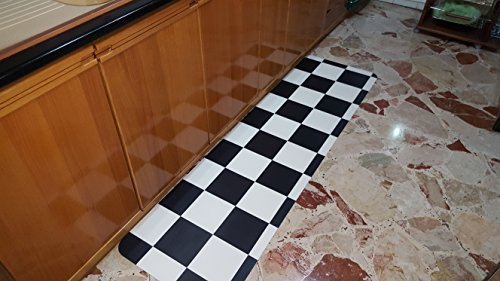 Teppich Vinyl Cushion Höhe 50cm x 220cm-Ideal für die Küche-Schachbrett Damier Black & White-schmutzabweisend-autoposante-abgerundete Ecken-Dicke 2mm -