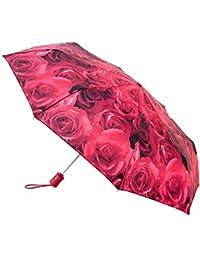 Fulton - Parapluie Deluxe à ouverture automatique - format compact - motif roses - femme - rose
